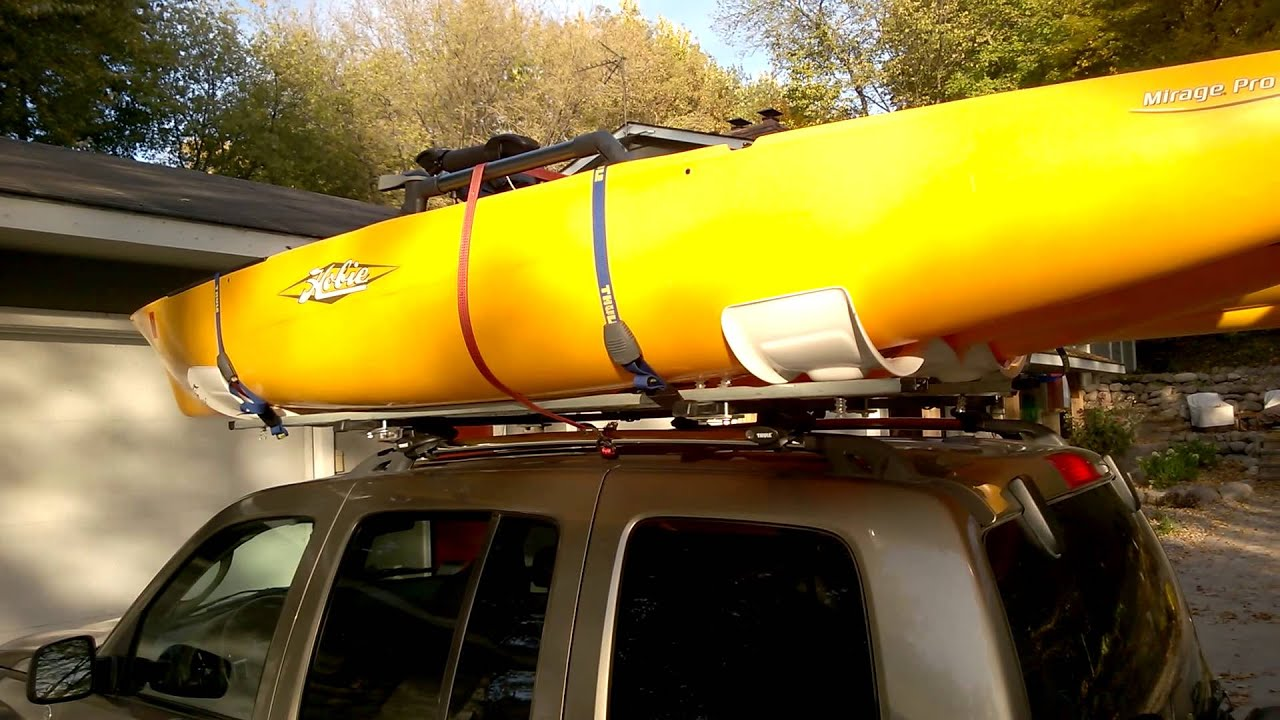 Hobie Pro Angler On A Thule Roof Rack Rhino Side Loader