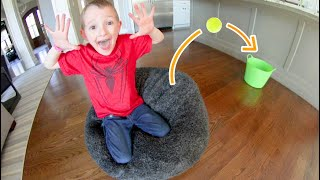 FATHER SON ULTIMATE BEAN BAG JUMPING TRICK SHOT!