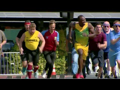 100m Race Usain Bolt Vs James Corden Owen Wilson