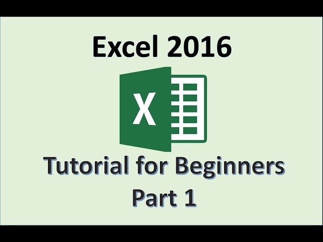 Excel 2016 Tutorials for Beginners