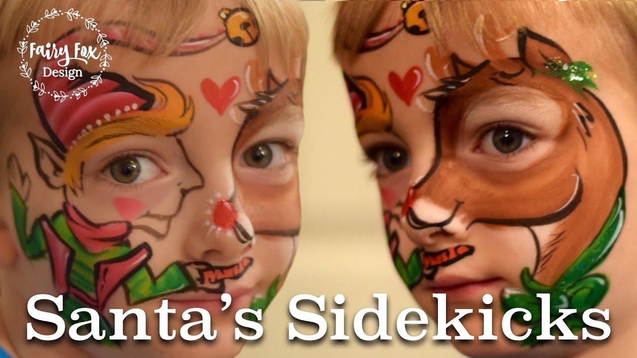 Santa S Sidekicks Elf And Reindeer Face Paint Tutorial Youtube