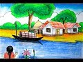 Riverside scenery landscape for beginners- village scenery drawing- nature art drawing by Indrajit