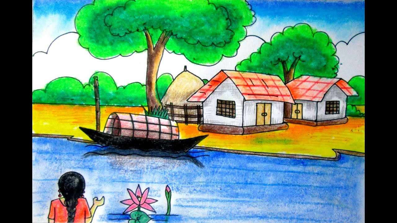 Riverside Scenery Landscape For Beginners Village Scenery Drawing Nature Art Drawing By Indrajit Youtube