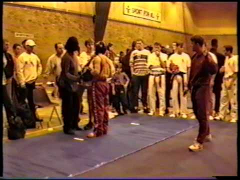 Lance Lewis Competing In Freestyle Karate Tournament (Black Belt And Head Guard)
