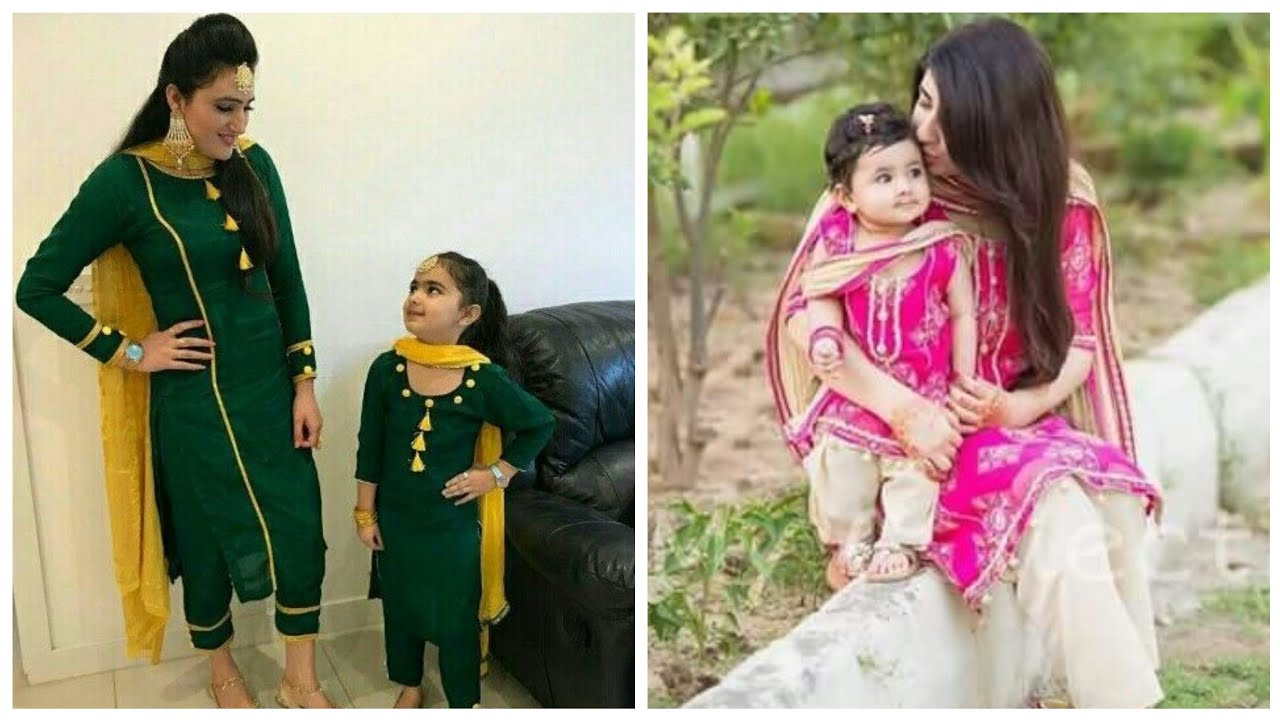 ab0b66f3b7 latest mom and daughter punjabi suit ideas || matching outfits for mom and  girl || mom baby dress. fashion updates