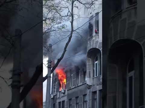 В Одессе горит колледж экономики и права, гостинично-ресторанного бизнеса.