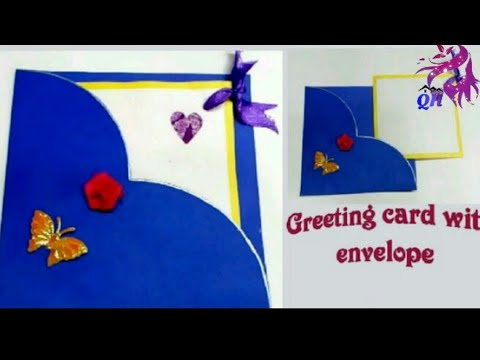 How to make greeting card with envelope || diy crafts || Queen's home|| paper art