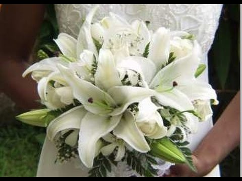 White Stargazer Lilies Wedding Bouquets - YouTube