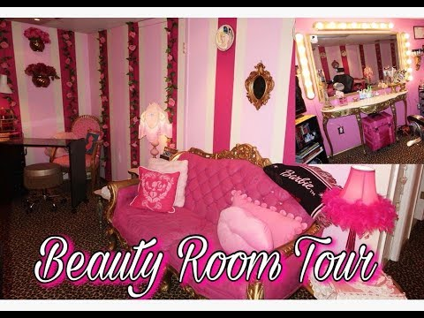 Pink Beauty Room Tour !    Vintage , Barbie , Glamour   Annie Penta