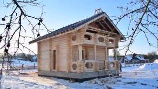 Рубленная баня - Самохваловичи 30.12.2015г.(Отчет о строительстве рубленной деревянной бане 7х9, с мансардой