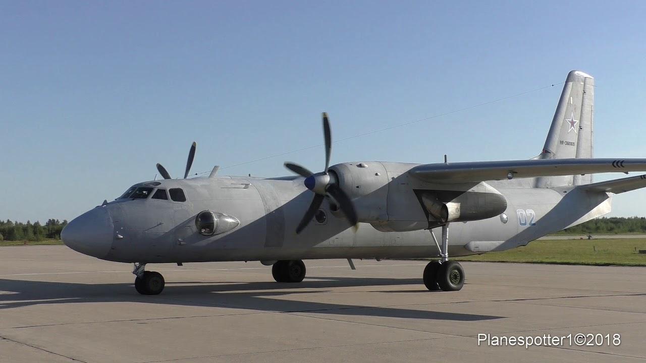 АН-26 RF-36069 запуск, взлет. Engine start, Takeoff ...