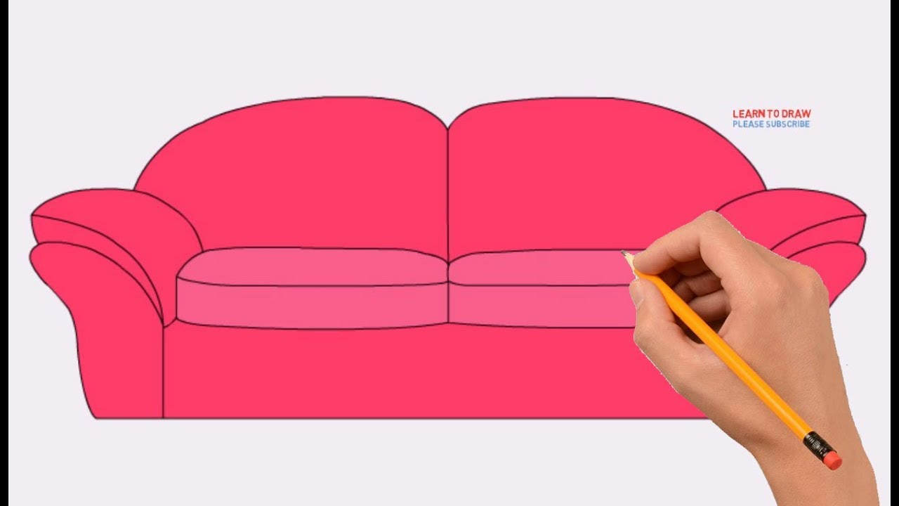 How To Draw A Sofa Chair Step By Step Easy Coloring Page Drawing Learn Colors For Kids