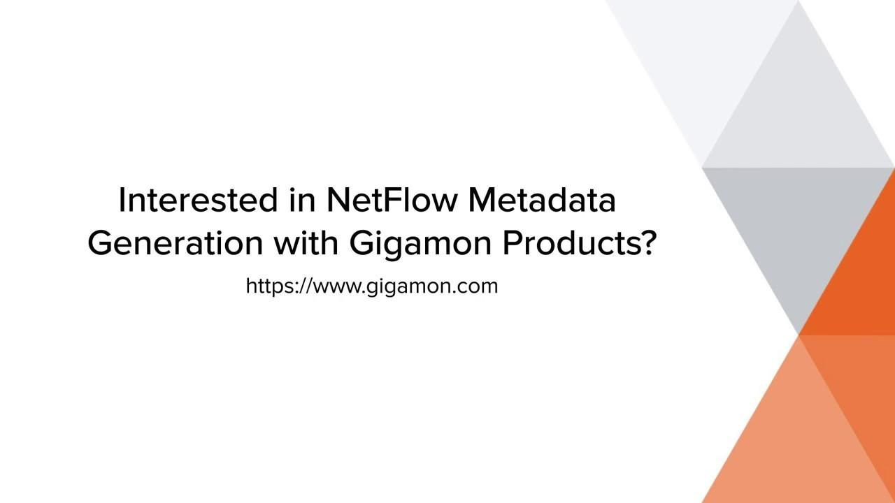 Metadata Generation | NetFlow | Gigamon