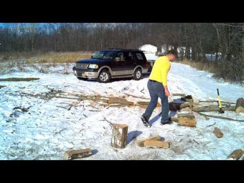 Splitting wood with my new 8 lbs maul.