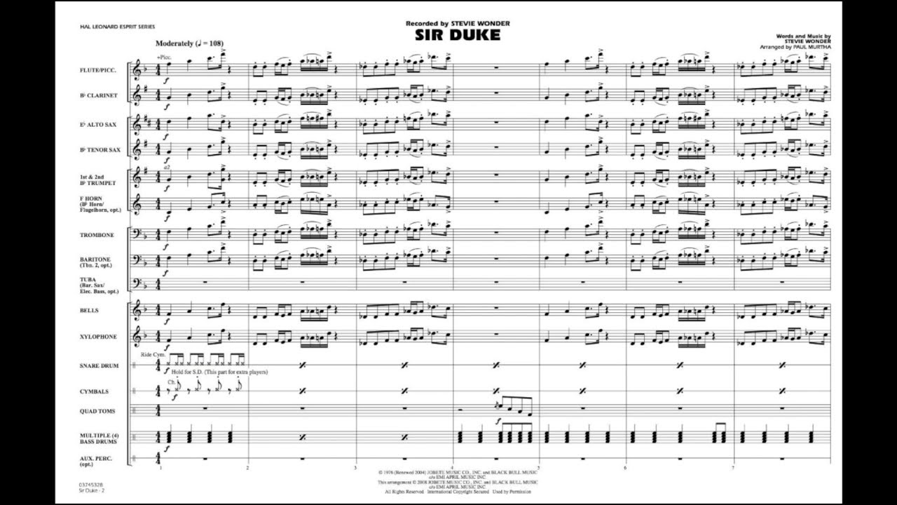 Sir Duke by Stevie Wonder/arranged by Paul Murtha Chords - Chordify