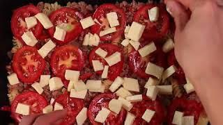 Запеченные макароны с фаршем | Макароны в духовке с томатами