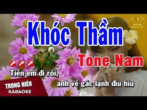 Karaoke Khóc Thầm Tone Nam Nhạc Sống | Trọng Hiếu