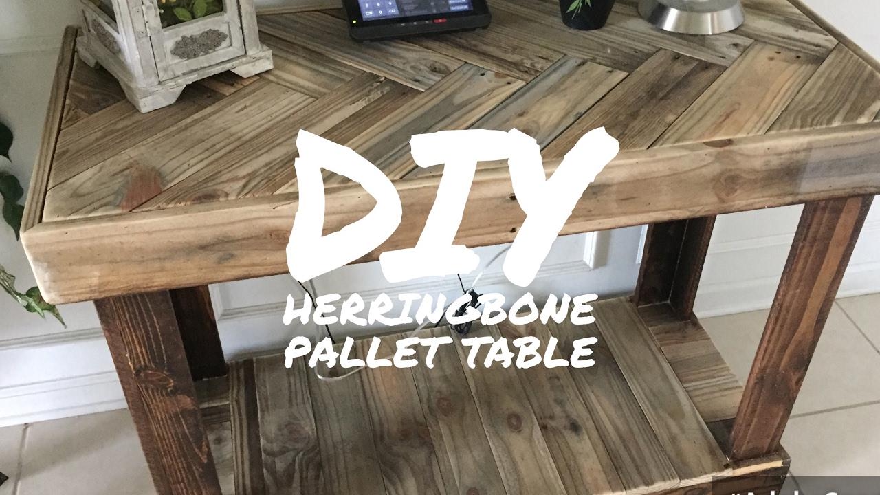 DIY RUSTIC PALLET HERRINGBONE PATTERN TABLE  BY KAREN
