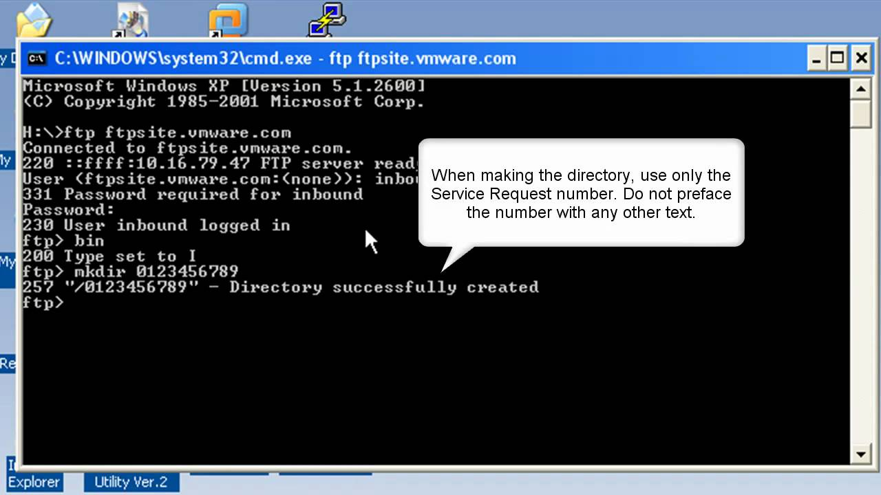 How to upload support logs and files for VMware Support to the VMware FTP  server