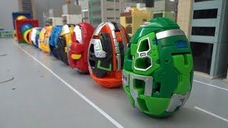 헬로카봇 쿵 10대 알 로봇 파이프 들어가기 장난감 놀이 Hello Carbot Kung 10 Egg Robots pass through pipes toys play