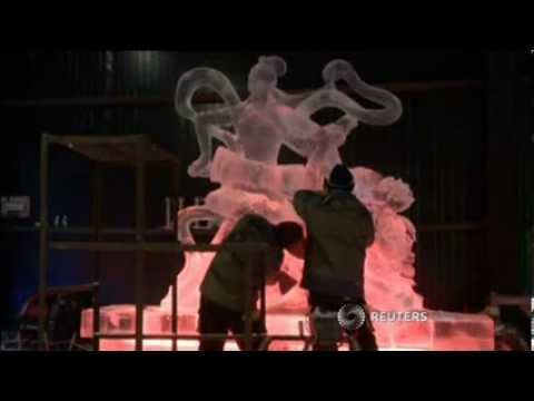 Ice Sculptures Dazzle at Freezing Cold Harbin China