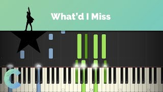 Hamilton - What'd I Miss Piano Tutorial