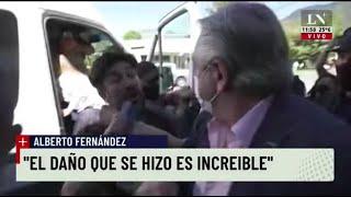 Chubut: Incidentes, tensión y piedrazos contra la camioneta de Alberto Fernández