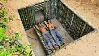 Build the Most  beautiful Bamboo Underground Tunnel House and mini pool.