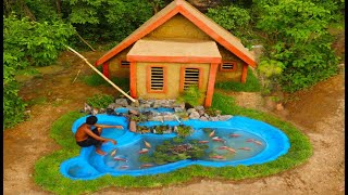 90 Days He Lived In Forest Build Custom House & Aquarium With Waterfall By Ancient Engineering