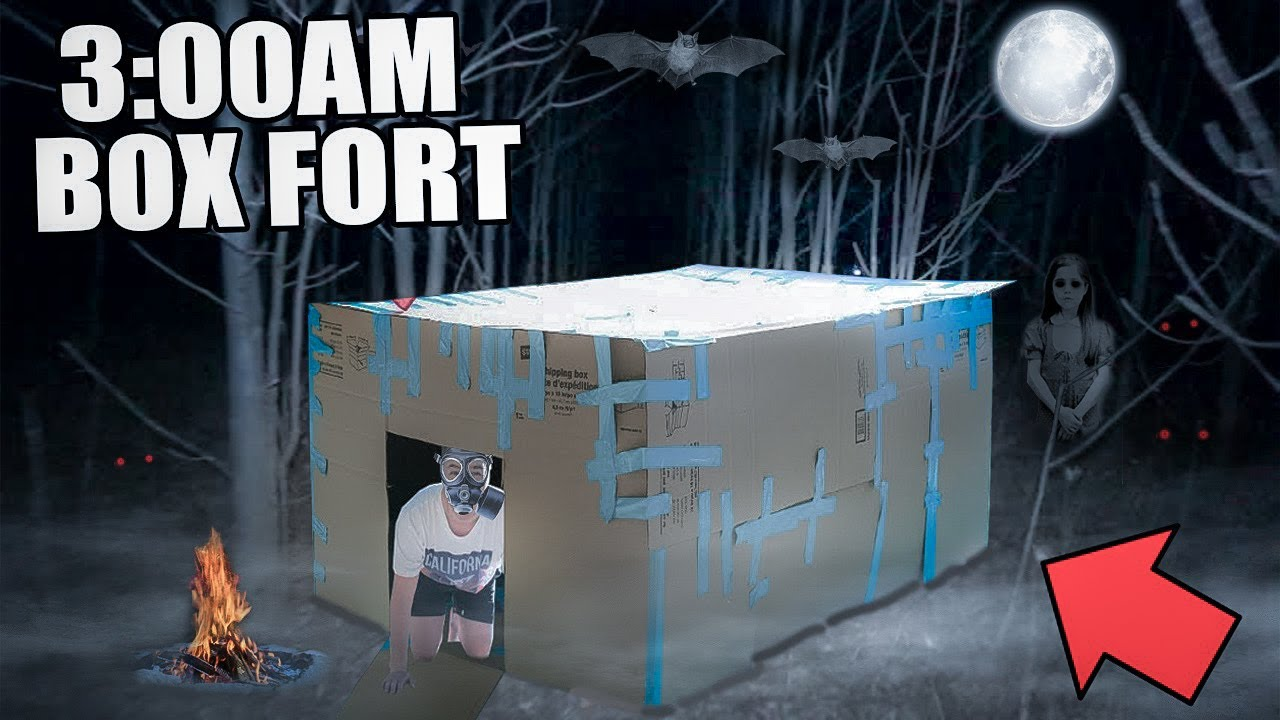 3 00 Am Box Fort Challenge 😱 Extremely Scary Youtube