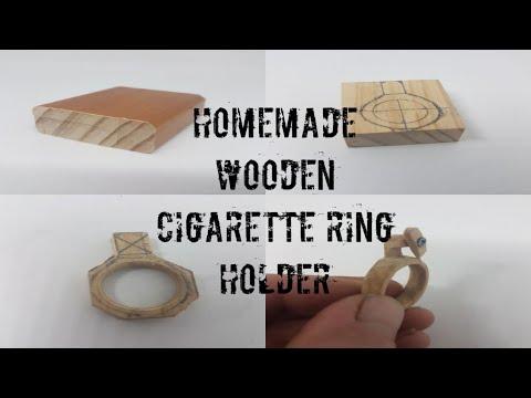 Homemade wooden cigarette ring holder