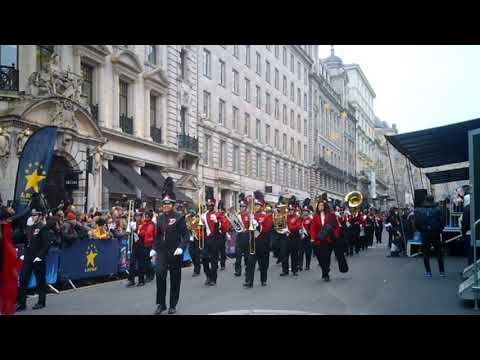 Dulaney High School's Lions Roar Marching Band performing at the London New Years Day parade 2020