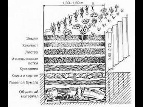 Устройство теплой грядки / выделяется  теплота,  и углекислый газ,  много питательных веществ