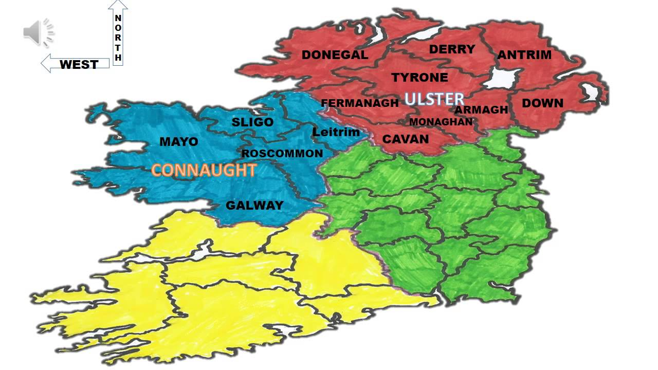 Map Of Ireland And Counties.The Counties Of Ireland Youtube