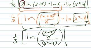 condense 1 3 2ln x 5 lnx ln x 2 4