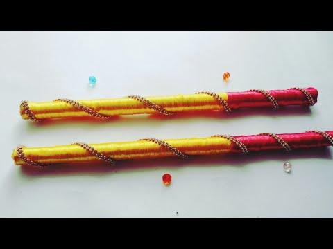 How to make simple Dandiya sticks for navrathri / ecofriendly dandiya sticks / Dussehra crafts