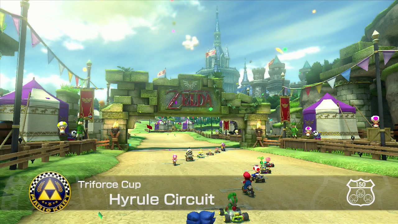 mario kart 8 triforce cup hyrule circuit youtube. Black Bedroom Furniture Sets. Home Design Ideas