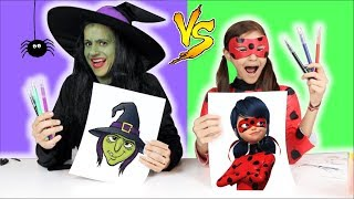 COLORINDO COM 3 CORES NA ESCOLA!!  (3 MARKER CHALLENGE)! Ladybug vs Bruxa malvada!