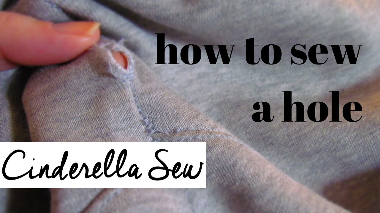 How to sew a hole - How to stitch a hole in clothes - Hand sew up a hole in pants, shirt, leggings