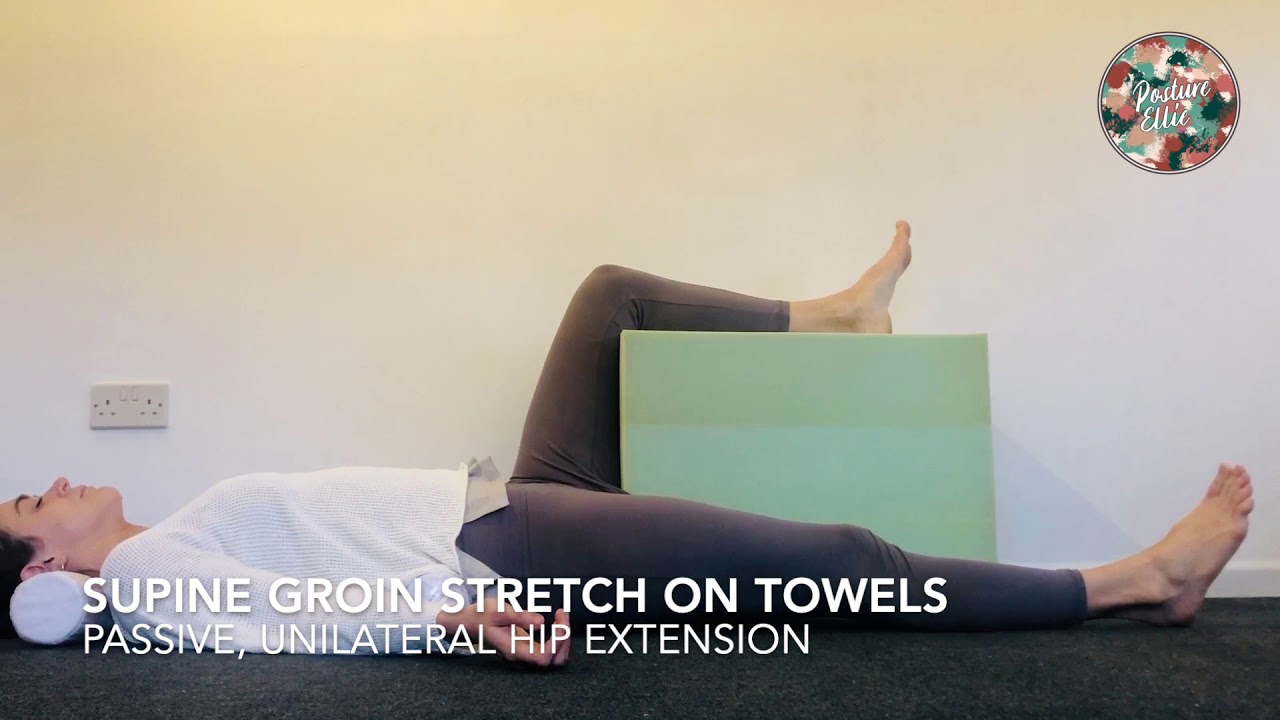 Supine Groin Stretch on Towels