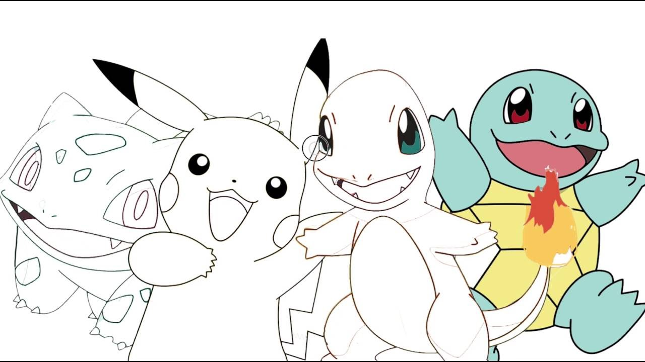 pikachu charmander bulbasaur squirtle coloring page youtube