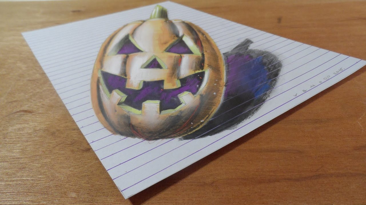 Draw 3D Pumpkinhead, Line Paper Art