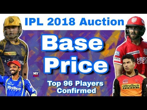 IPL 2018 Auction : Confirmed Base Price Of All Top 96 Players For IPL 11