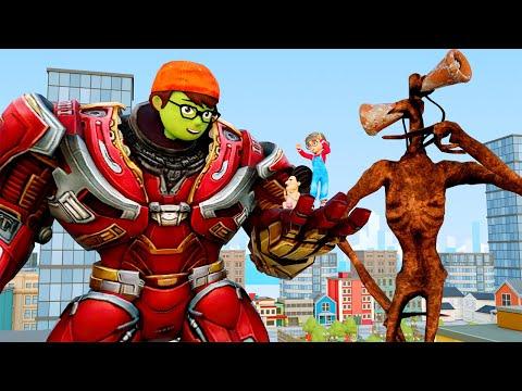 Siren Head Vs IronMan Giant NickHulk And Tani Care Baby MissT Scary Teacher 3D Superheroes Animation