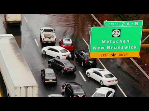 Drone Video of Major New Jersey Flooding on Interstate 287 in Edison New Jersey
