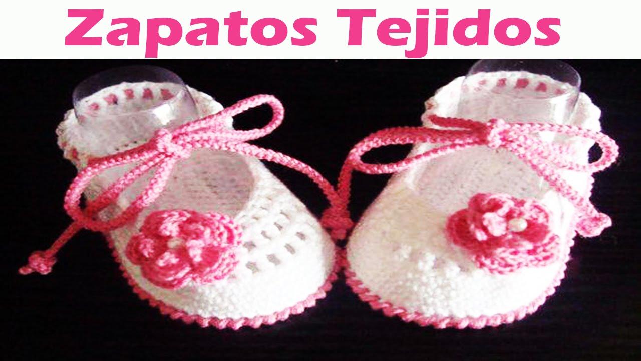 Zapatitos Para Niños y Niñas Tejidos en Crochet y Dos Agujas ...