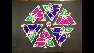 Simple Rangoli Design with Beautiful Colours & Dots 11x6 For Beginners | Easy Kolam