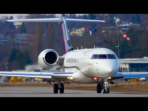 Bombardier Global Express Take-Off from Bern bound for Los Angeles