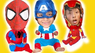 Avengers Superhero rescue mission turn into babies - Spiderman iron man Pretend play kids toy video