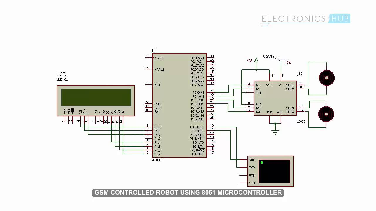 GSM Controlled Robot using 8051 Microcontroller